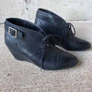 Rockport black wedge tie booties